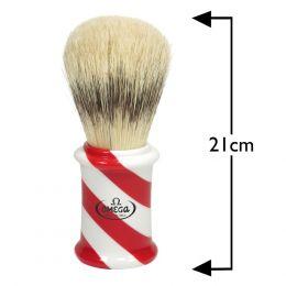 Omega Giant Barber Pole Shaving Brush - Red & White