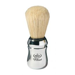 Omega Synthetic Boar Bristle Shaving Brush - Chrome